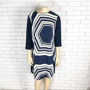 Ann Taylor Women's Geometric Navy Shift Dress